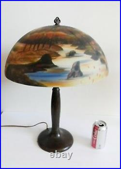 Handel vintage art deco lamp with reverse painted forest stream shade