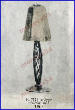Hettier & Vincent Lampe Art Déco En Fer Forgé Et Tulipe En Verre Pressé 1930