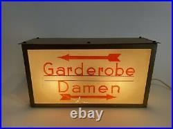 Hinweisleuchte Lampe Kino Theater Turnhalle Design 30er 1930s Art Deco Garderobe