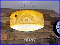 Huge Art Deco 30's Geometric Design Glass Flycatcher Ceiling Lamp Light Shade