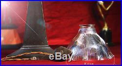 Iconic 1960 art deco Seattle space needle bronze lamp prismatic holophane shade