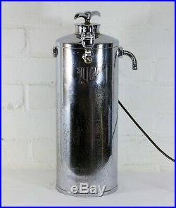 Industrial Table Lamp Large & Unique Chrome Art Deco Fire Extinguisher Upcycled