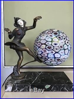 JB Hirsch Gerdago Art Deco Millefiori Bronze Pixie Harlequin Lamp Marble On Base