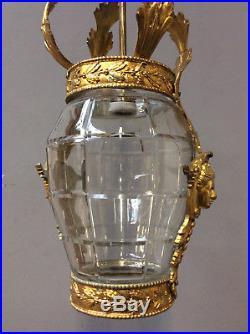 JUGENDSTIL1900/10 Decken-Lampe vergoldet FACETTGLAS-Schale ART DECO Lüster TOP