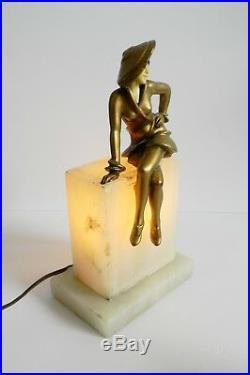 J B Hirsch Sophisticated Lady art deco lamp gilt girl on marble 1925