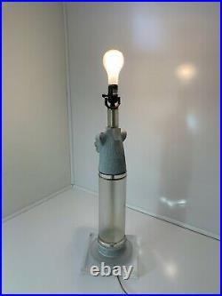 Jaguar Head Table Lamp Art Deco Mid-Century Modern Acrylic/Lucite Tiered Base