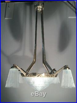 Jugendstil ART DECO Lampe 1920 sign. MULLER FRERES LUNEVILLE Lüster
