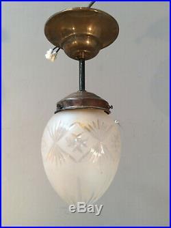 Jugendstil ART DECO Lampe Satinglaszapfen Ø12 MESSING DECKENLAMPE TOP Flurlampe