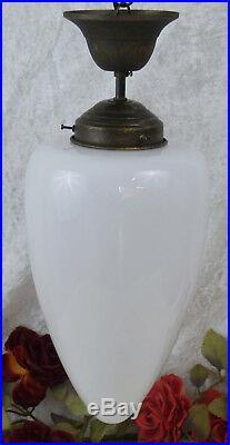 Jugendstil Deckenlampe Leuchte Hängelampe Glas Messing Lampe Antik Art deco