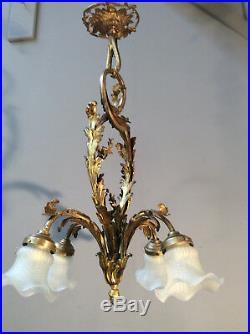 Jugendstil LAMPE Bronze 4xSatiinglas-Tulpen ANTIK1900/10 ART DECO -TOP
