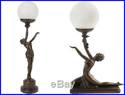 Juliana Bronze Effect Art Deco Kneeling or Stretching Lady Globe Lamp