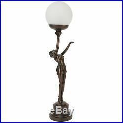 Juliana Gifts Lamp Bronze Art Deco Lady Holding Globe