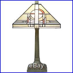 Khufu 12 Square Tiffany Glass Art Deco Style Table Lamp