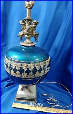 LARGE Art Deco-MCM Bronze Figure Blue Glass Ball Marble Lamp Cherub Antique-VTG