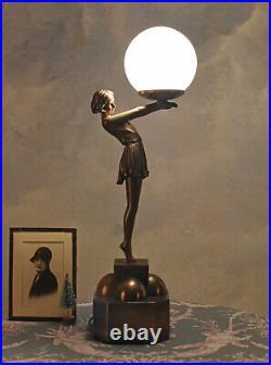 Lamp Art Deco Table Lamp Female Figure Table Desk Lamp Ball Screen Bedside Lamp