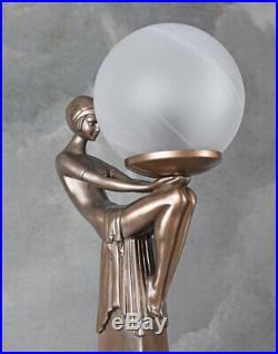 Lampe Art Deco Frauenakt Tischleuchte Bauhaus Tischlampe Kugelschirm Leuchte neu
