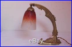 Lampe Art Deco Pate De Verre Schneider Bronze Lustre Muller Degue Daum