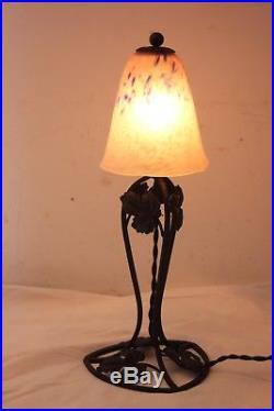 Lampe Art Deco Pate De Verre Schneider Fer Forge Lustre