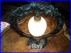 Lampe Daum Pied Fer Forge Era Galle Muller Art Deco Nouveau