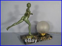 Lampe Sculpture Art Déco Style Guerbe Le Faguays / Lampe Femme Nue Art Déco