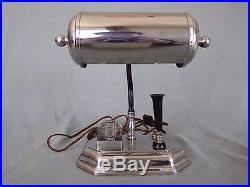 Lampe bureau époque art déco chrome USA