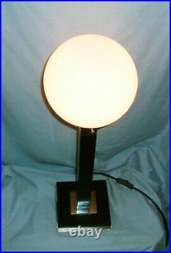 Large Bespoke Art Deco Style Black & Chrome Lamp With Glass Globe Shade