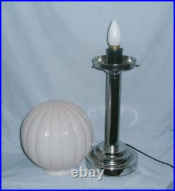 Large Bespoke Art Deco Style Chrome Lamp With Pale Pink Ribbed Shade