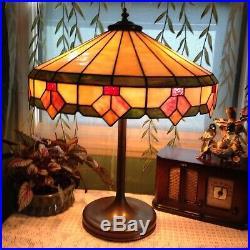 Large Lamb & Greene leaded lamp Art Deco Handel Tiffany arts crafts slag era