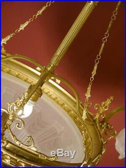 Large Old Art Deco Lamp Chandelier 4 Light Shiny Brass Antique Lustre Glass