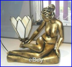 Large Size Art Deco Tiffany Design Nude Lady Bronzed Gold Effect Lamp Sculpture