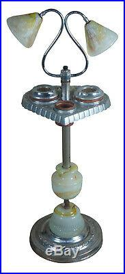 Late Art Deco Slag Glass Smoking Stand Floor Lamp Side Table Ashtray Light