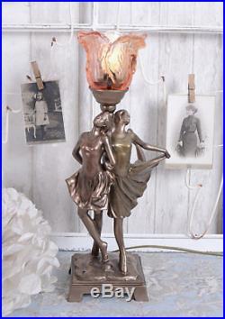 Leuchte Art Deco Tänzerin Tischlampe Glasschirm Tischleuchte Vintage