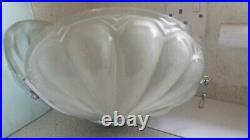 Lovely Original 1930s Art Deco Glass/Chrome Cinema Clam Shell Ceiling Lamp Shade