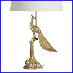 Luxe Peacock Bird Desk Table Lamp Antique Brass Glass Base Handcrafted Art Deco