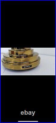 MCM style Brass Gold, 80s Art Deco Revival Mushroom Dome End Table Desk Lamp
