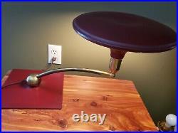M. G Wheeler UFO SIGHTLIGHT Art Deco Flying Saucer BURGANDY Desk Lamp Swivels
