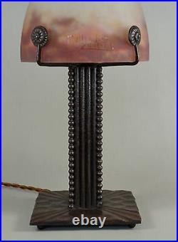 M. VASSEUR & MULLER FRERES FRENCH 1930 ART DECO LAMP. Wrought iron 1925