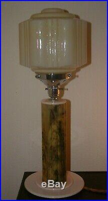 Marblelised Catalin Phenolic Bakelite Lucite Art Deco Lamp Lampe Pink Step Shade