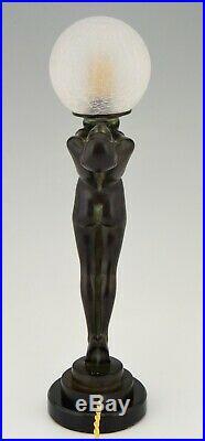 Max Le Verrier Art Deco lamp sculpture nude on marble base design 1928 Clarté