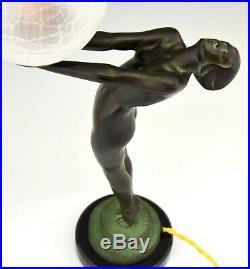 Max Le Verrier Carté Art Deco style lamp sculpture nude with globe marble base