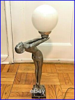 Max Le Verrier Clarté Art Deco lamp nude woman holding globe marble base