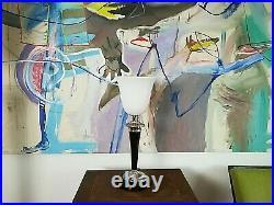 Mazda Lampe, Leuchte, Tischlampe mit weißem Schirm, Art déco Lampe für Kommode