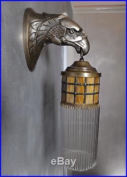 Messing Wandleuchte Antik Wandlampe Glasstäbe Art Deco Lampe Adler Gold Vintage