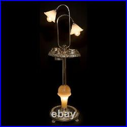 Mid-Century Art Deco Floor Astray Chrome Smoking Table Cigar Stand Lights Lamp
