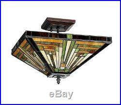 Mission Style Craftsmen Arts & Crafts Deco Semi Flush Stained Glass Ceiling Lamp