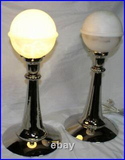 Modern Art Deco, Natural Spanish Alabaster Globe Sphere, Table Lamps PAIR