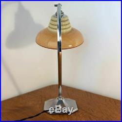 Modernist Art Deco Chrome Table/Desk Lamp/Light with Loetz style glass shade