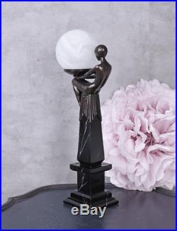 Nachttischlampe Frauenfigur Tischlampe Metropolis Tischleuchte Art Deco Lampe