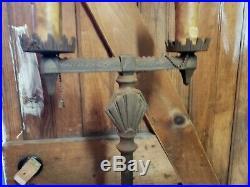 Nice Antique Art Deco Floor Lamp 2 light Gothic Medieval bridge candle stand