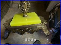 Nice Antique Ornate Art Deco Bridge Lamp yellow vaseline glass